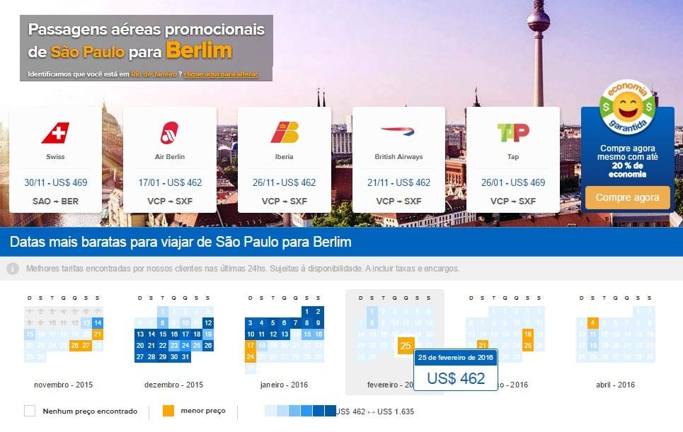 Buscador de passagens em promoção para Berlim e Alemanha