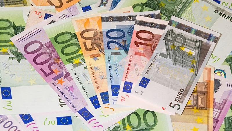 Notas de euro em Berlim
