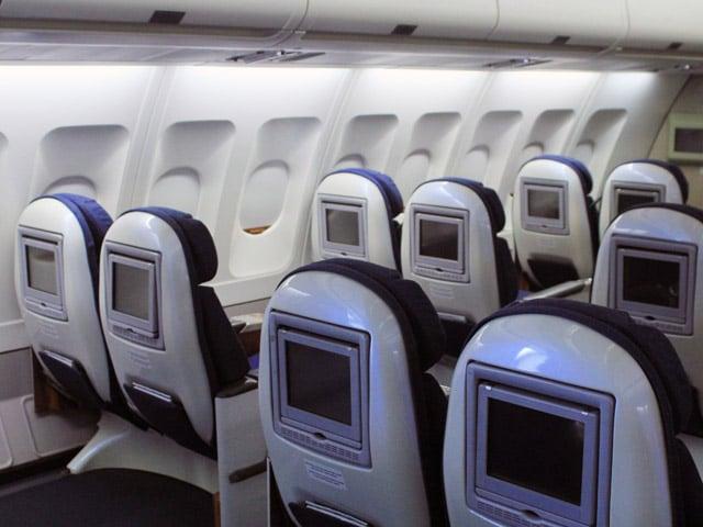 Interior do avião em Berlim