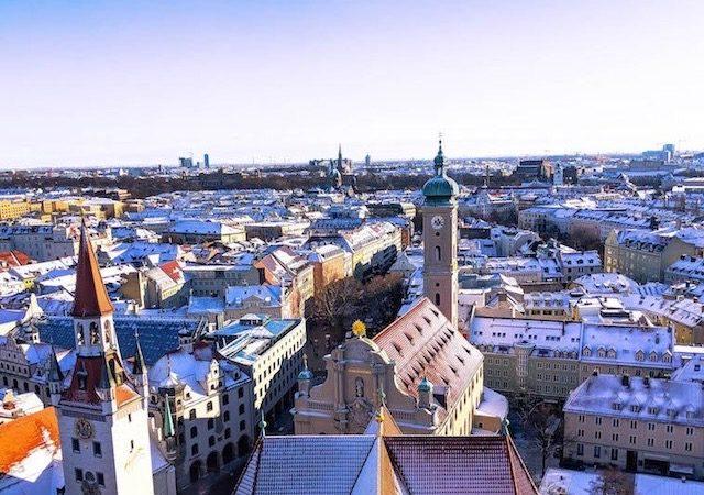 Cidade de Munique no inverno