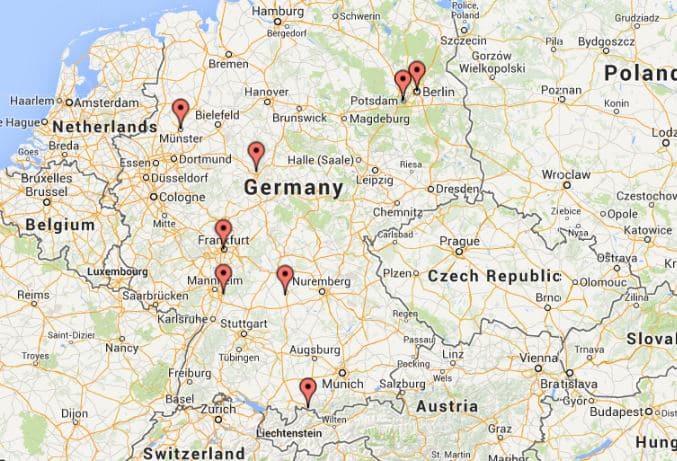 Mapa do roteiro de carro pela Alemanha