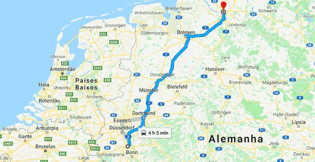 Mapa da viagem de trem de Colônia a Hamburgo
