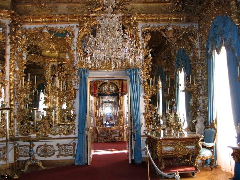 Gabinete Azul e Sala de tapeçaria leste no Palácio de Linderhof em Munique