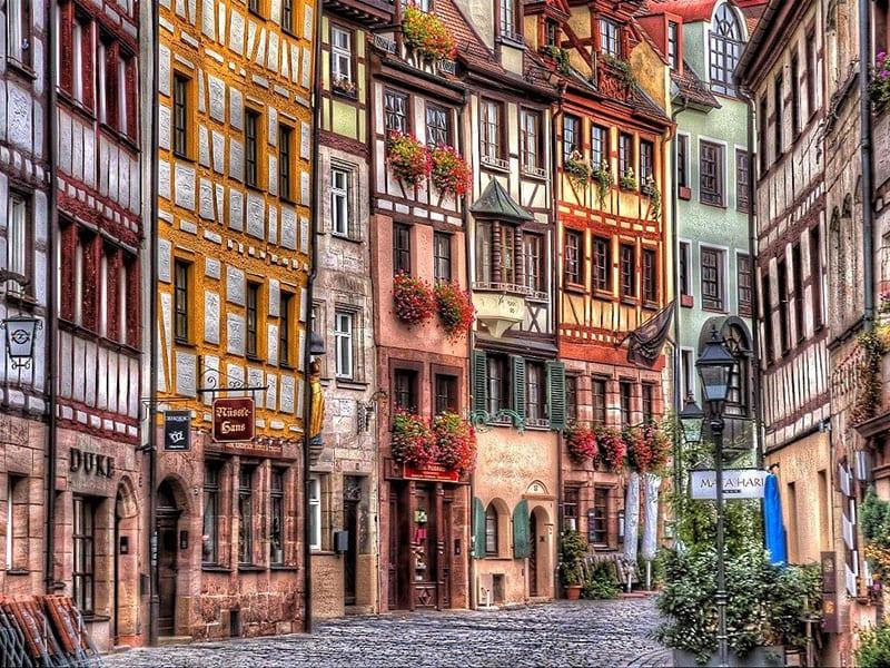 Weißgerbergasse na cidade de Nuremberg na Baviera