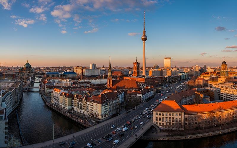 Vista da cidade de Berlim durante o mês de novembro