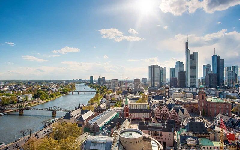 Vista aérea de Frankfurt na Alemanha