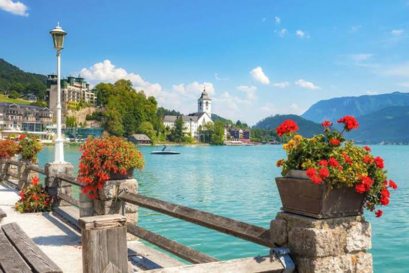 Vista da viagem de Munique para Salzburgo