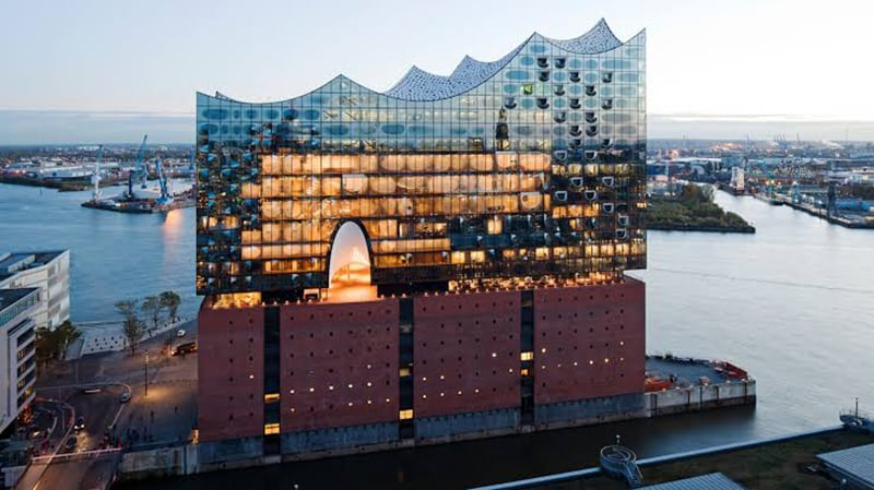 Vsta aérea da Filarmônica do Elba em Hamburgo