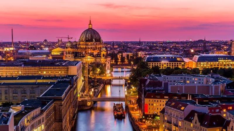 Entardecer em Berlim