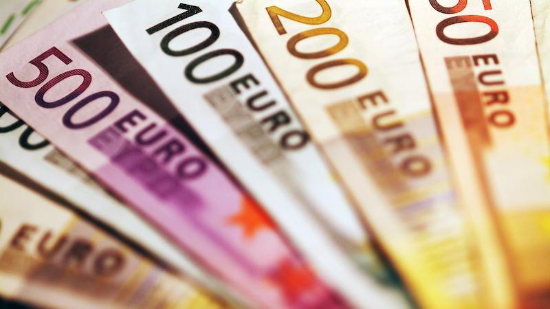Notas de euro em Frankfurt
