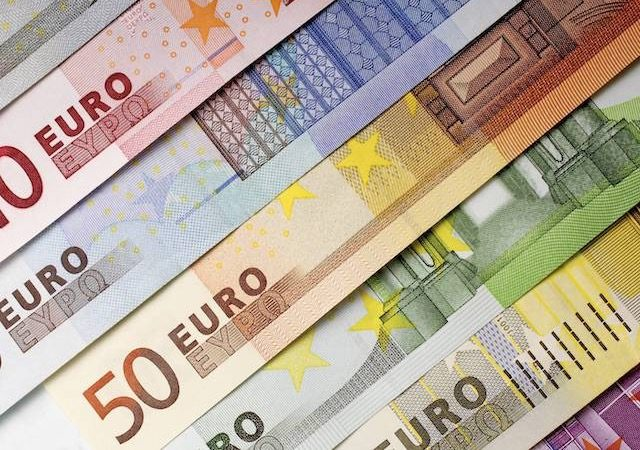 Notas de euro em Hamburgo